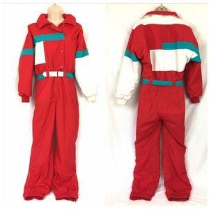 Vintage Fera Ski Suit 10 Womens 80s Red White Teal